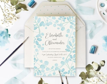 Baby Blue Leaf Watercolour Wedding Day Invitation Digital Handmade Personalized with Envelopes Watercolor - sample