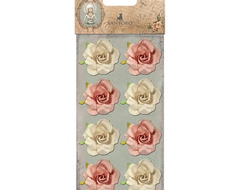 Santoro Mirabelle Paper Flowers Roses Cream Dusky Pink NEW OUT