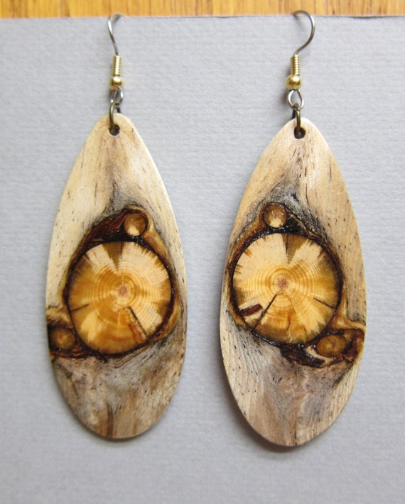 Gorgeous Glowing Pine, Exotic Wood Earrings long Large Handcrafted ExoticwoodJewelryAnd ecofriendly repurposed