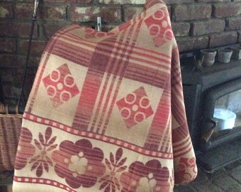 Cottage or Camp Blanket - Wool and Cotton Blend  - Vintage