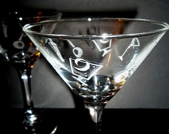 SALE WAS 15.00...Set of 3......Olive Etched Martini Glasses