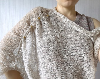 Handmade knitted natural linen & cotton tunic with asymmetrical sleeve