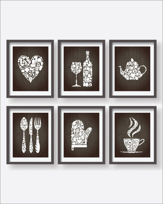 Kitchen icons collections decor kitchen poster 6 set kitchen for Kitchen decor collections