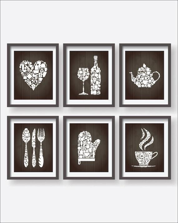 kitchen icons collections decor kitchen poster 6 set kitchen