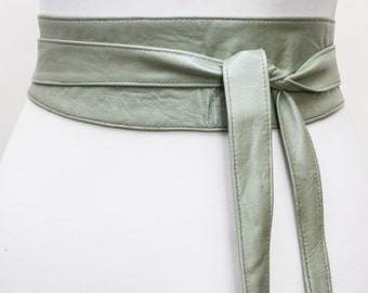 Mint Green Leather Obi Belt | Waist Cincher Belt | Corset Leather Belt| Plus Size Belt | Wrap Belt