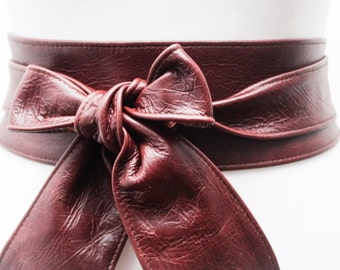 Ox Blood Brown Obi Belt | Leather Obi Belt | Sash Belt | Plus Size Accessory | Wrap Belt | Obi Belt | Tie Belt | Wide Waist Belt | Brown Obi