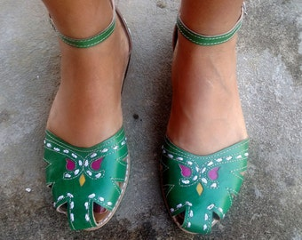 "Leather Sandals Handmade Green Leather Shoes Vintage Style Leather Shoes Summer ""BONECA"""
