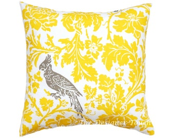 Yellow Pillow Cover.Floral Pillow.Yellow Bird Pillow.Premier Prints Pillow. Accent Pillow.Lumbar.Sham.Cushion Cover.Any Size
