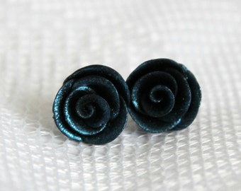 25% OFF! Blue Velvet Rosebud Earrings