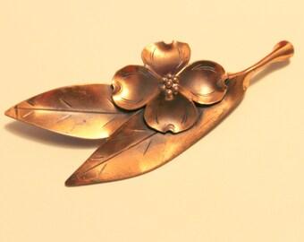 Dogwood Brooch in Copper Vintage Stuart NYE signed with clover symbol