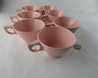 7 Vintage Texas Ware Pink Melamine Cups PMC