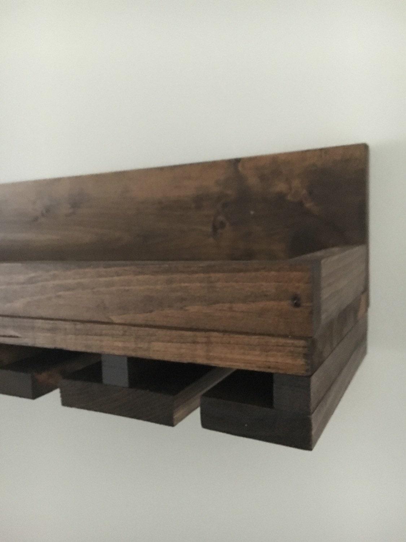 rustic wood wine rack shelf glass holder by distressedmenot. Black Bedroom Furniture Sets. Home Design Ideas