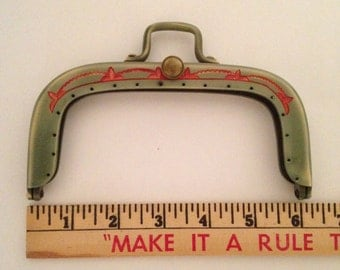Plastic Purse Handle: 1920s Green and Red