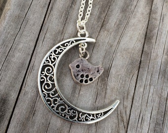 Bird and Moon charm necklace, Bird Necklace, Moon necklace, Boho Necklace, Indie Necklace