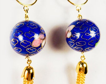 1362+ - Cloisonne earrings, cloisonne jewelry, cloisonne, blue cloisonne, pink flowers, gold chain tassel, tassel earrings, tassel jewelry
