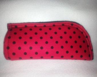 Black Poka Dot on Red Soft Eye Glass Case