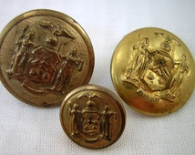 3 State of New York Seals Crest, Brass Uniform BUTTONS: 1880s Indian Wars Era, Browning King, Wat. Button Co., S.N.Y. Backmarks, Excelsior