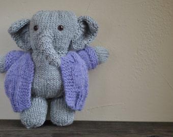 Handknit stuffed toy elephant