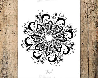 BLESSED Mandala Coloring Page, peace, words, hand drawn, zen art, affirmation card, printable coloring therapy