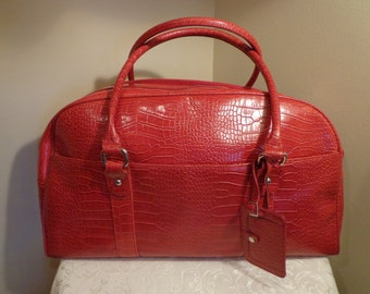 Bath and Body Works Red Faux Alligator Skin Duffel Bag, Faux Leather Red Alligator Skin Weekender Bag with Original Tag