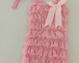 Lace  light pink baby Romper0-3 Months