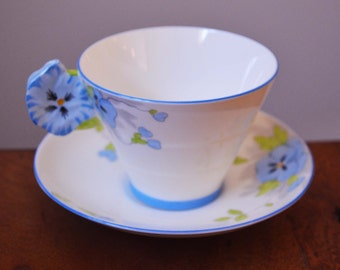 Antique Rare Star Paragon Blue Pansy handled Teacup and saucer - circa 1930s with Star logo