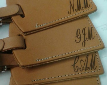 Custom Laser engraved leather luggage tags