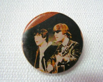 Vintage Late 60s to Early 70s The Beatles / Paul McCartney and John Lennon / Color Photo Pin / Button / Badge