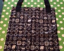 Black Post Stamps/Franking Stamps, Tote Bag, Man Bag, Foldaway Shopping Bag, Shopping Bag, Grocery Bag, Bag For Life, Reuseable Bag, Kits