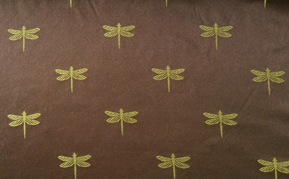 Green And Brown Reversible Dragonfly Upholstery Fabric By