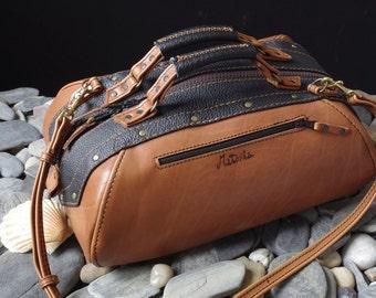 handmade handbag in brown and black leather