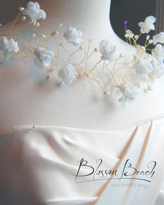Ivory and gold bridal hair vine;inverse bridal crown;wedding hair vine