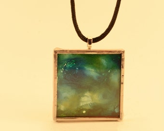 Green, White & Yellow Alcohol Ink Glass Pendant