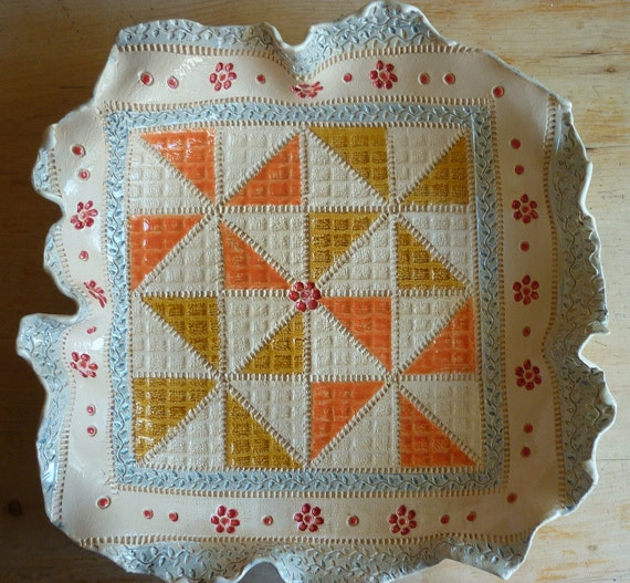 Handmade Ceramic Patchwork Patterned Bowl