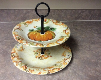 A  Pretty 222 Fifth Fine China Calabash Two Tier Serving Tray/Cake Stand.