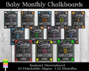 PRINTABLE Monthly Baby Signs-Baby Monthly Chalkboards-1-12 Months Photo Props-Baby 1st Year Photo Booth Props Chalkboards-Instant Download