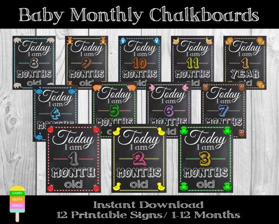 Monster image in printable baby month signs