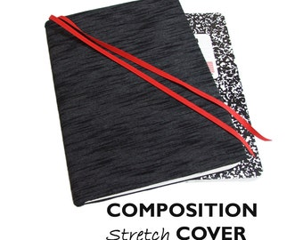 Stretch Composition Book Cover BLACK SLUB DENIM, School Notebook Cover, Fabric Journal Cover, Bullet Journal, Back to School Supplies