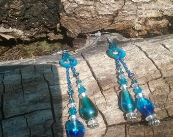 Teal Blue Glass Drop Earrings