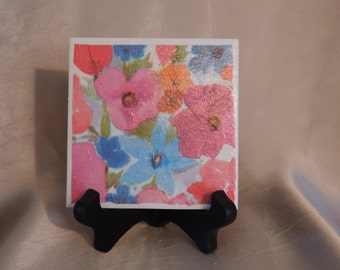 Ceramic Floral Coasters, set of 4