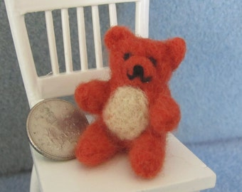 Little brown hand felted teddy Bear perfect for dolls to cuddle OOAK