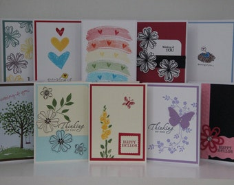 Thinking of You Card Set.  Hello Card Set.  Greeting Card Assortment.   Thinking of you note cards.  Handmade greeting card assortment