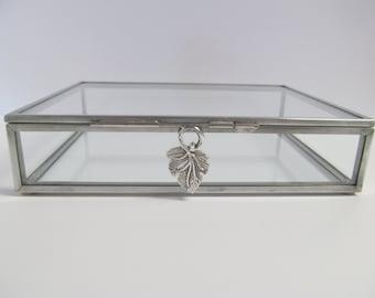 5 x 7 Zinc and Glass Box,  Photo Box with a Grape Leaf Clasp.  Keepsake Box, Jewelry Box, Memory Box, Wedding, Bridesmaid gift