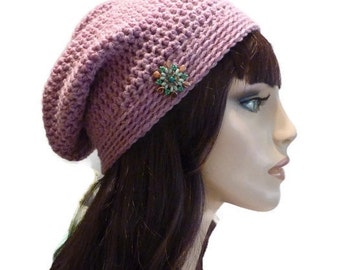 Slouchy Beanie, Rose Heather Winter Hat, Ski Hat, Teen Beanie, Women's Slouchy Beanie