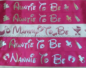 Mummy to be sash etsy personalised baby shower sash baby shower personalised sash mummy to be baby negle Image collections