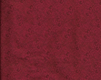 New Dark Red with Flowers 100% cotton fabric by the 1/4 yard