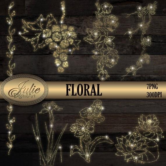 Bokeh Flowers Wedding: Gold Bokeh Floral Clipart, Wedding Border, Party String