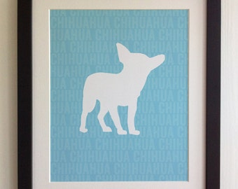 FRAMED Chihuahua Dog Print - Blue, Birthday, New Home, Black or White frame, Fab Picture Gift