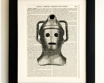 FRAMED ART PRINT on old antique book page - Retro Cyberman, Doctor Who, Vintage, Upcycled Wall Art Print Encyclopaedia Dictionary Page