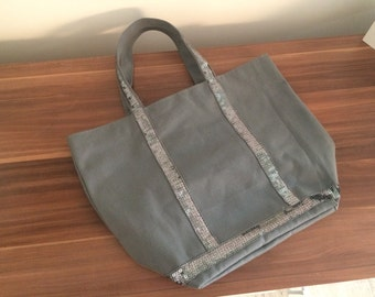 Grey canvas tote bag with grey sequins medium size